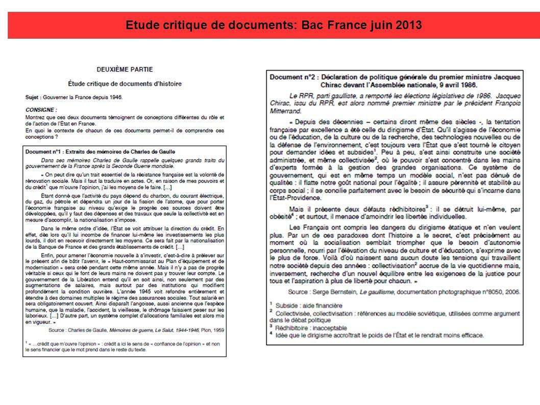 Etude critique de documents: Bac France juin 2013