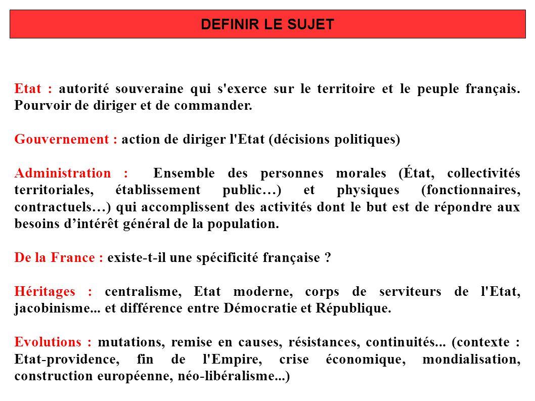 DEFINIR LE SUJET Etat : autorité souveraine qui s exerce sur le territoire et le peuple français. Pourvoir de diriger et de commander.