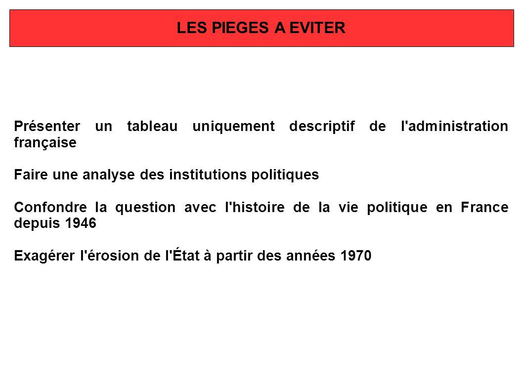 LES PIEGES A EVITER Présenter un tableau uniquement descriptif de l administration française. Faire une analyse des institutions politiques.