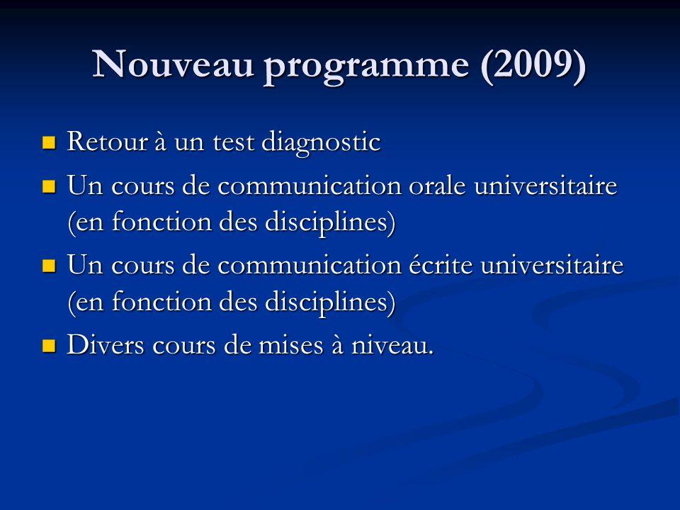 Nouveau programme (2009) Retour à un test diagnostic