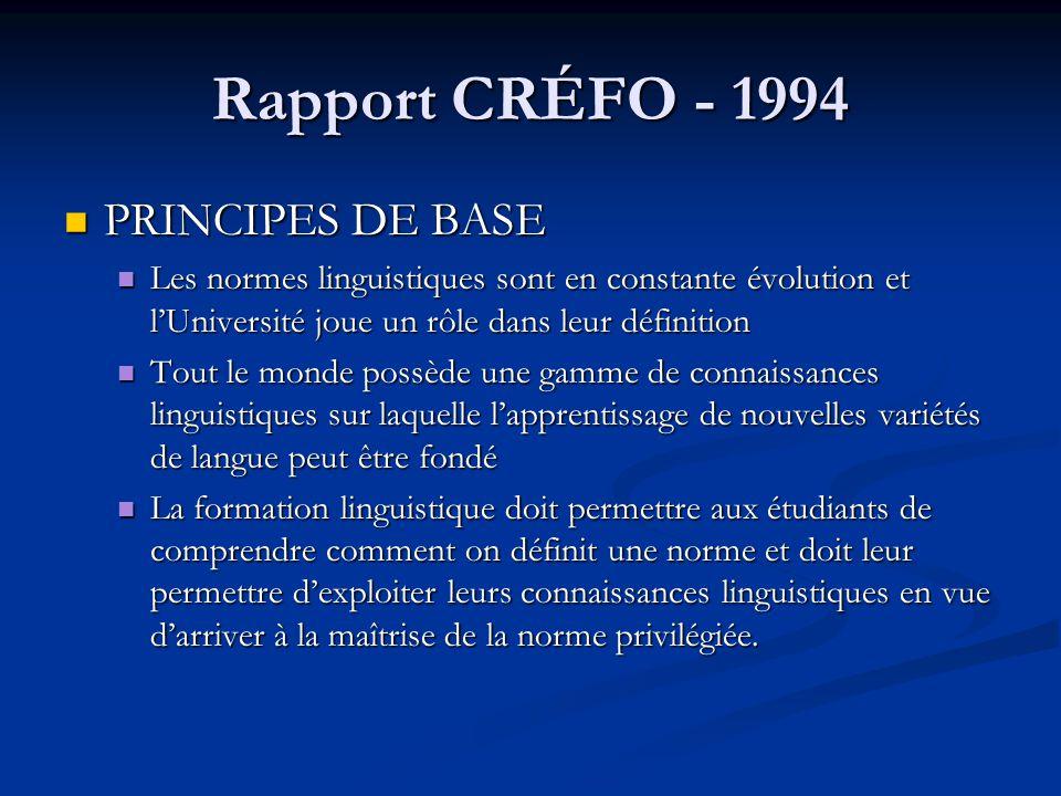 Rapport CRÉFO - 1994 PRINCIPES DE BASE