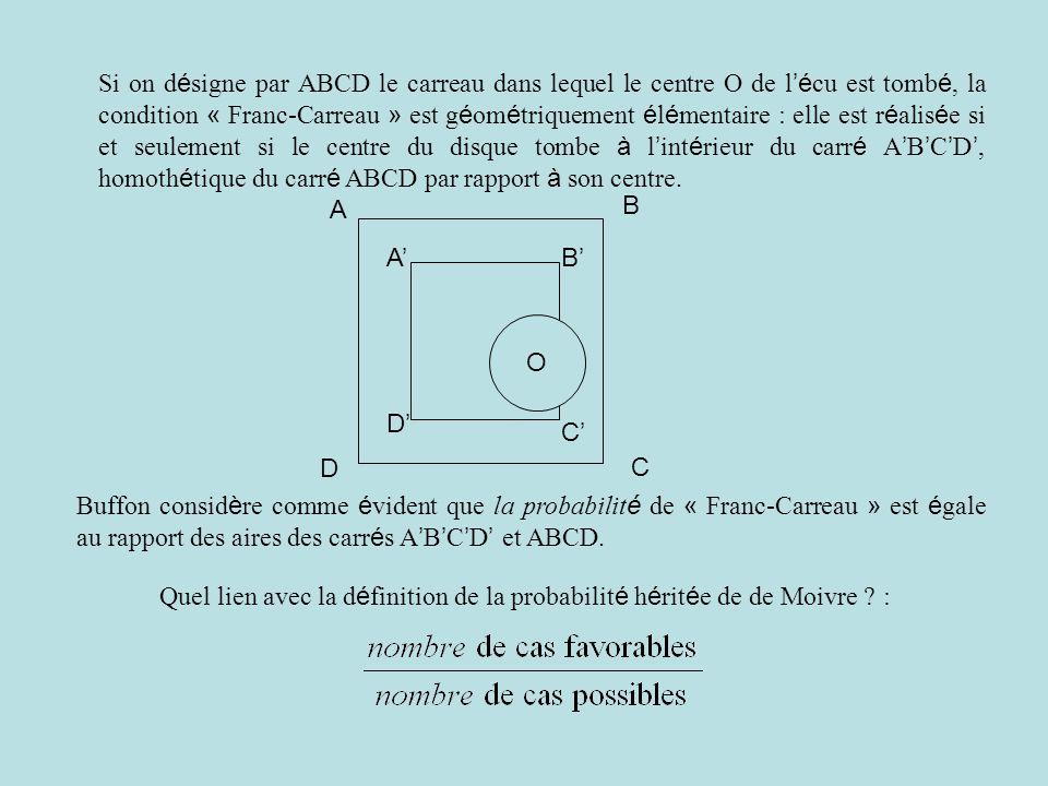 Si on désigne par ABCD le carreau dans lequel le centre O de l'écu est tombé, la condition « Franc-Carreau » est géométriquement élémentaire : elle est réalisée si et seulement si le centre du disque tombe à l'intérieur du carré A'B'C'D', homothétique du carré ABCD par rapport à son centre.
