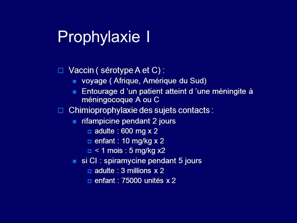 Prophylaxie I Vaccin ( sérotype A et C) :