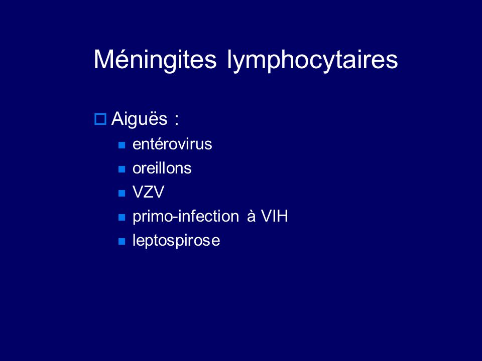 Méningites lymphocytaires