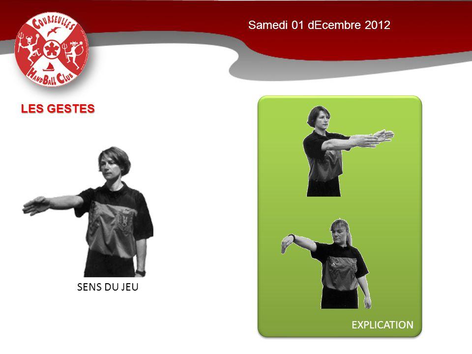 Samedi 01 dEcembre 2012 EXPLICATION Les GESTES SENS DU JEU