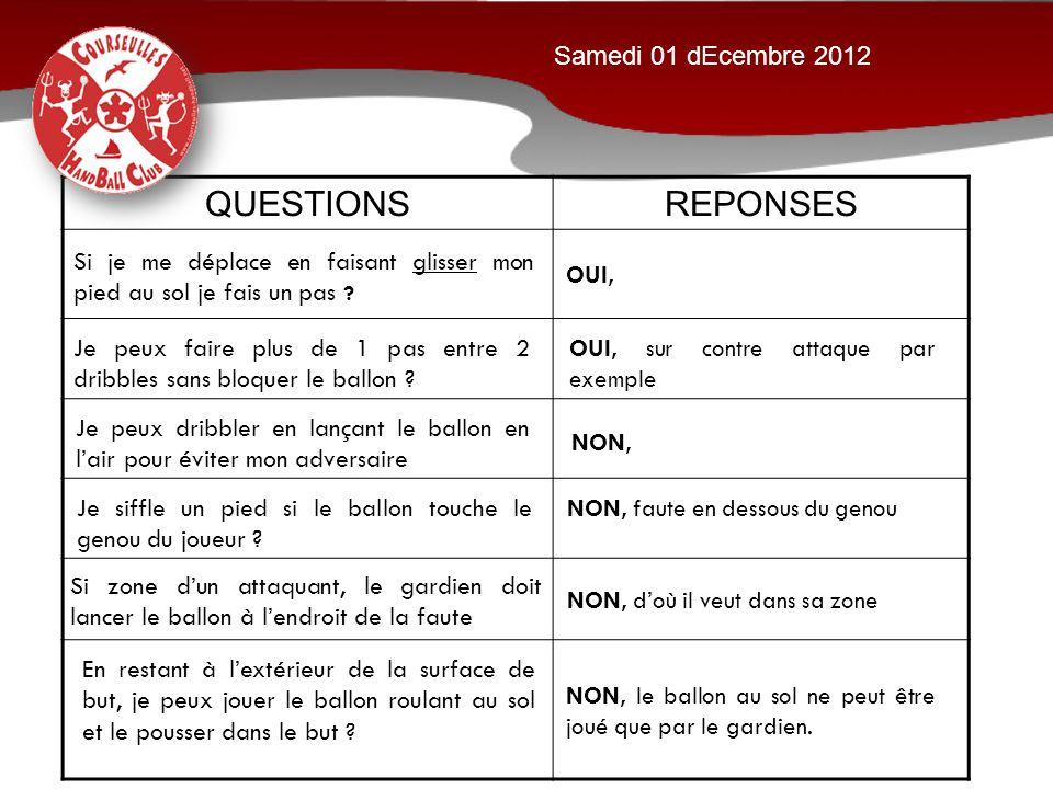 QUESTIONS REPONSES Samedi 01 dEcembre 2012