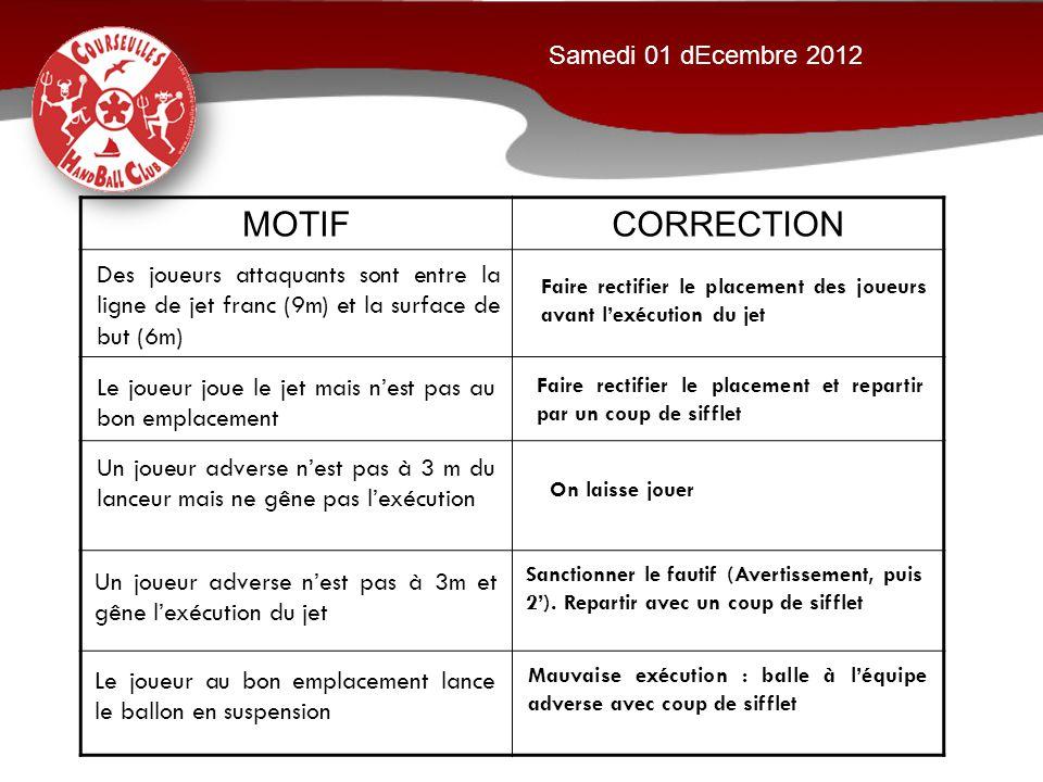 MOTIF CORRECTION Samedi 01 dEcembre 2012