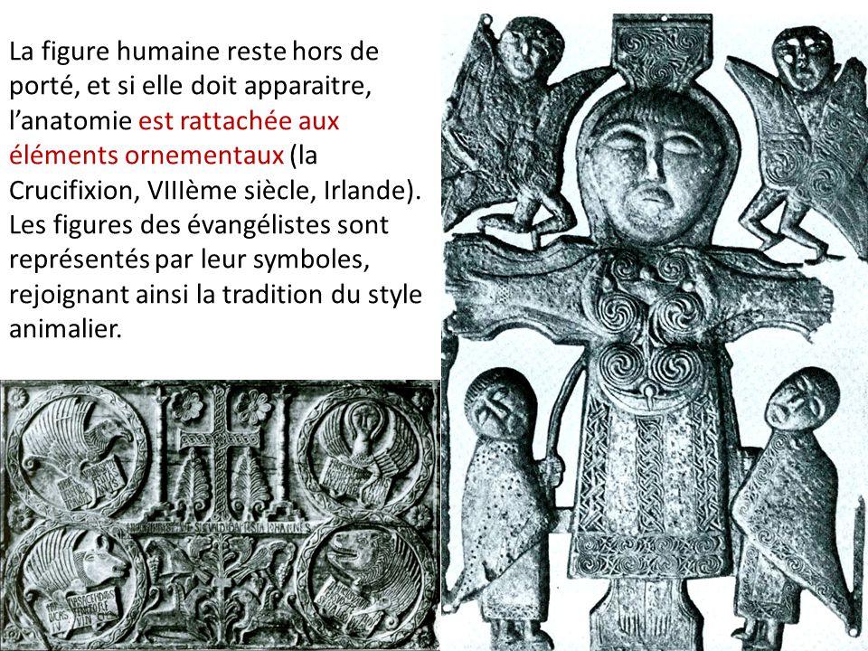 La figure humaine reste hors de porté, et si elle doit apparaitre, l'anatomie est rattachée aux éléments ornementaux (la Crucifixion, VIIIème siècle, Irlande). Les figures des évangélistes sont représentés par leur symboles, rejoignant ainsi la tradition du style animalier.
