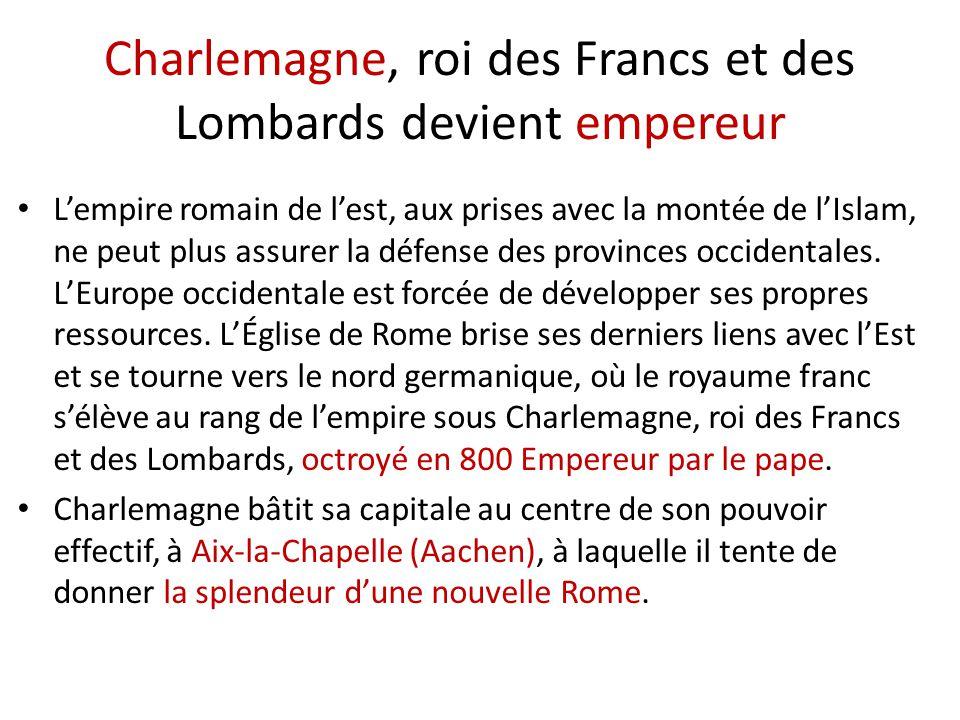 Charlemagne, roi des Francs et des Lombards devient empereur