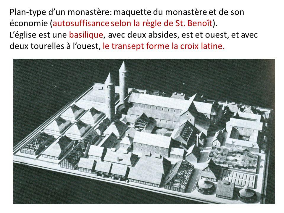 Plan-type d'un monastère: maquette du monastère et de son économie (autosuffisance selon la règle de St.