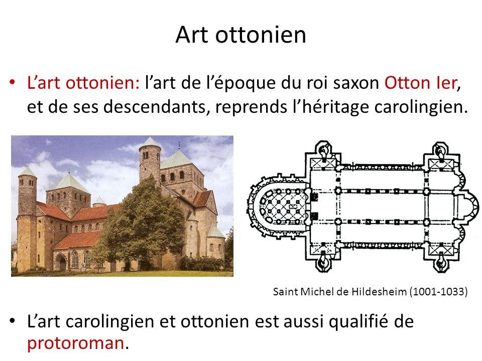Art ottonien L'art ottonien: l'art de l'époque du roi saxon Otton Ier, et de ses descendants, reprends l'héritage carolingien.