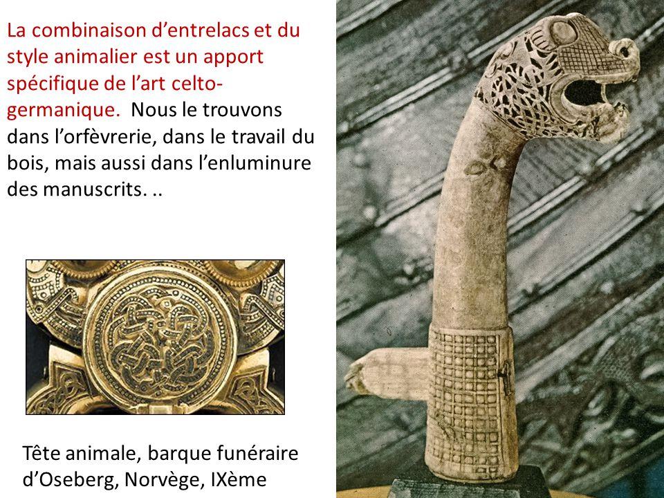 Tête animale, barque funéraire d'Oseberg, Norvège, IXème