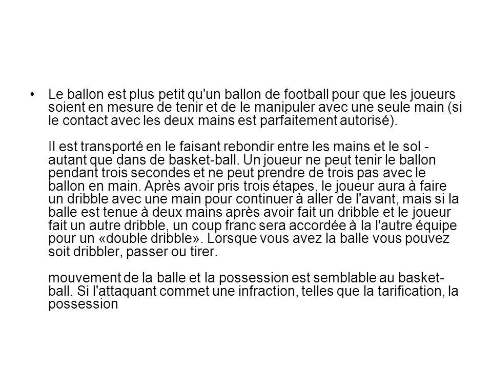 Le ballon est plus petit qu un ballon de football pour que les joueurs soient en mesure de tenir et de le manipuler avec une seule main (si le contact avec les deux mains est parfaitement autorisé).