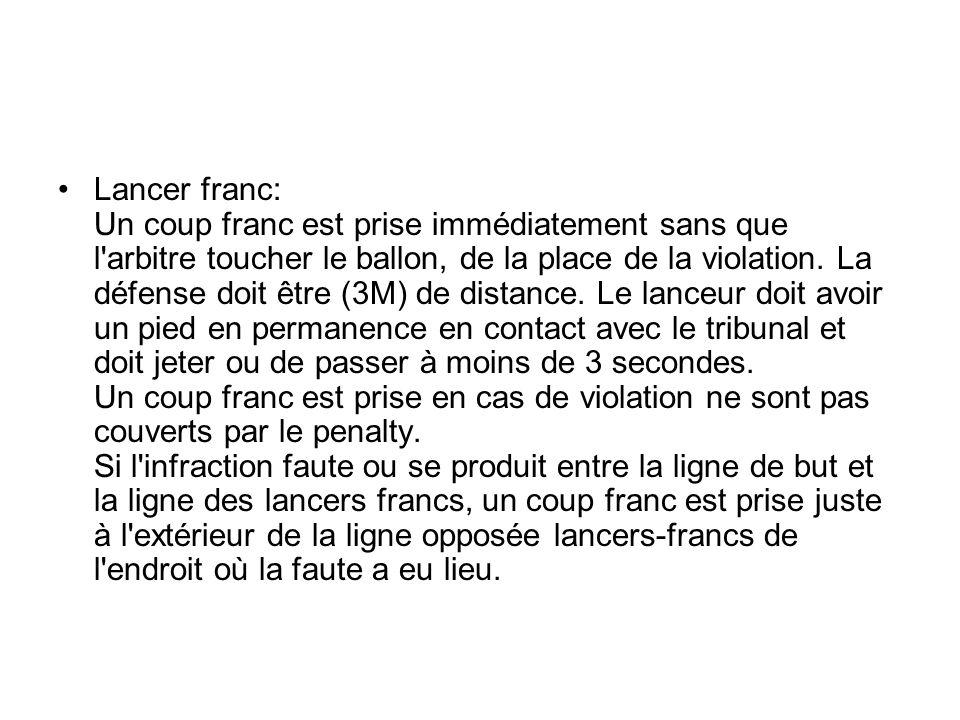 Lancer franc: Un coup franc est prise immédiatement sans que l arbitre toucher le ballon, de la place de la violation.