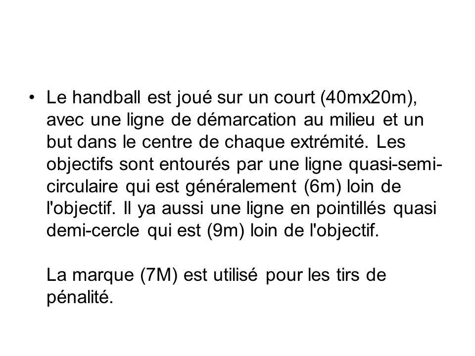 Le handball est joué sur un court (40mx20m), avec une ligne de démarcation au milieu et un but dans le centre de chaque extrémité.