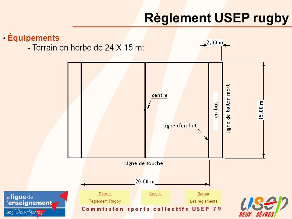 Règlement USEP rugby - Terrain en herbe de 24 X 15 m: • Équipements :