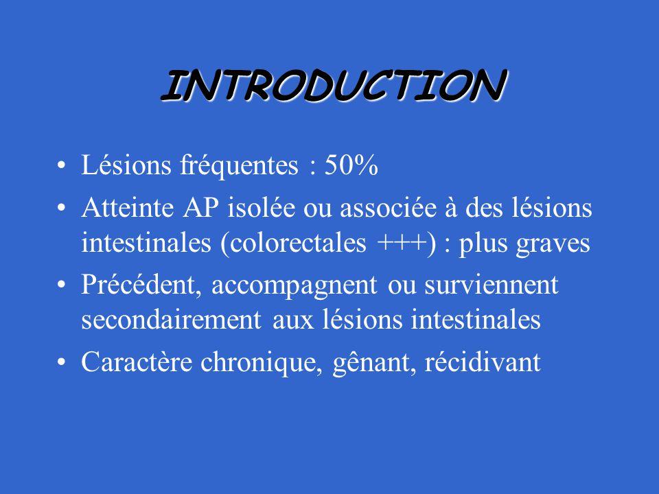INTRODUCTION Lésions fréquentes : 50%