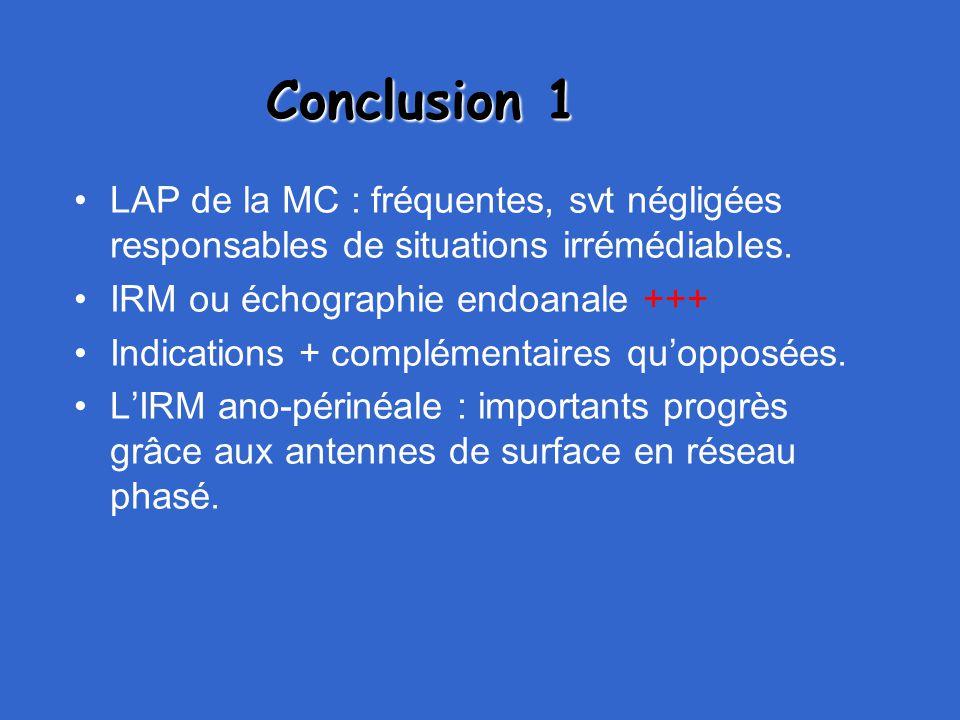 Conclusion 1 LAP de la MC : fréquentes, svt négligées responsables de situations irrémédiables. IRM ou échographie endoanale +++