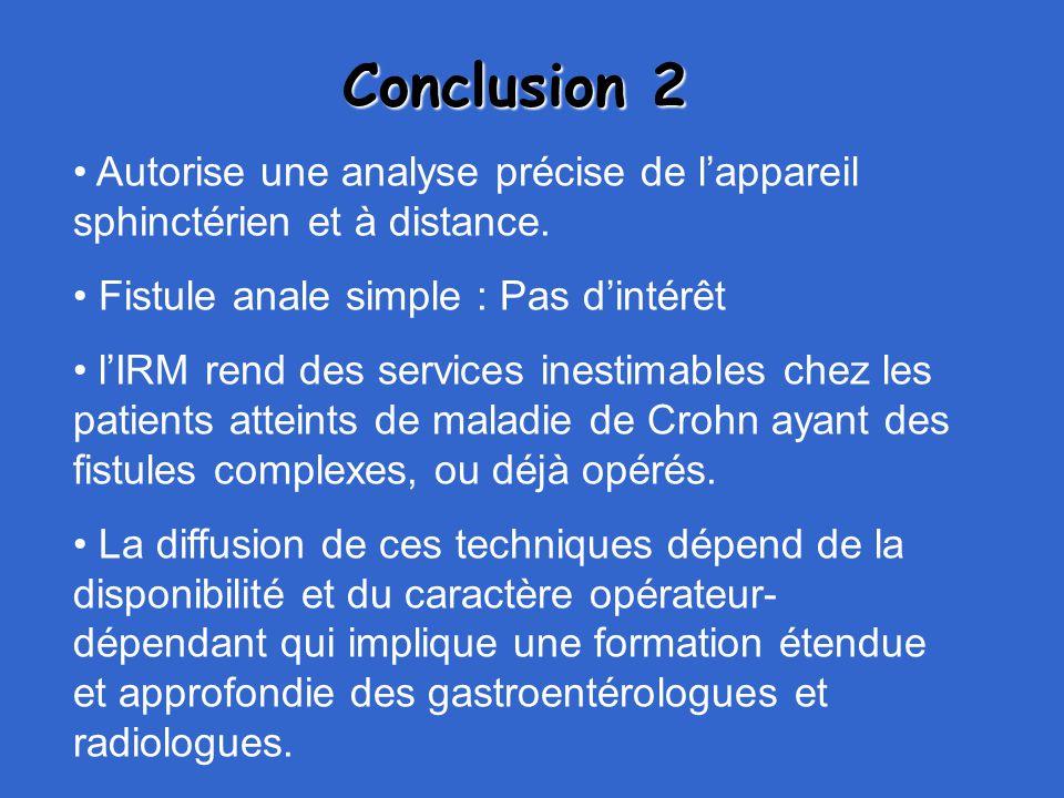 Conclusion 2 Autorise une analyse précise de l'appareil sphinctérien et à distance. Fistule anale simple : Pas d'intérêt.