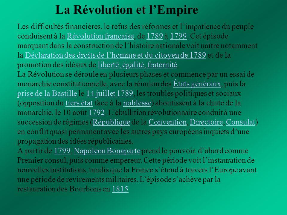 La Révolution et l'Empire