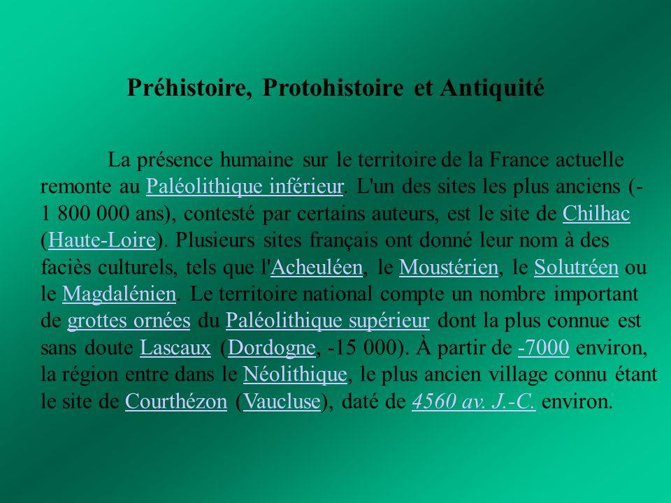 Préhistoire, Protohistoire et Antiquité