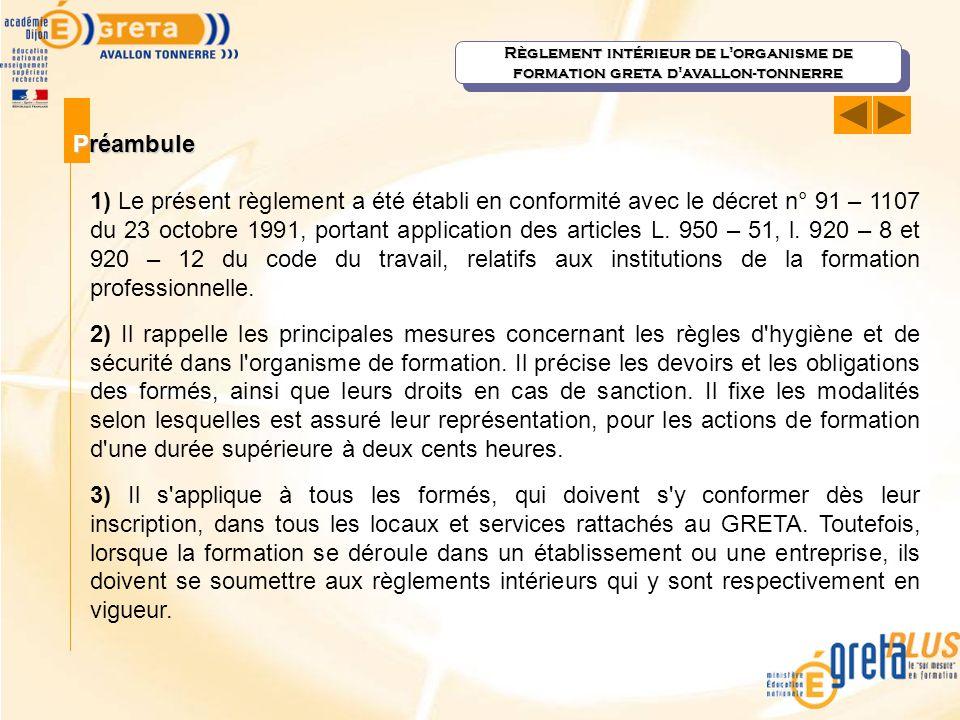 Règlement intérieur de l organisme de formation greta d avallon-tonnerre
