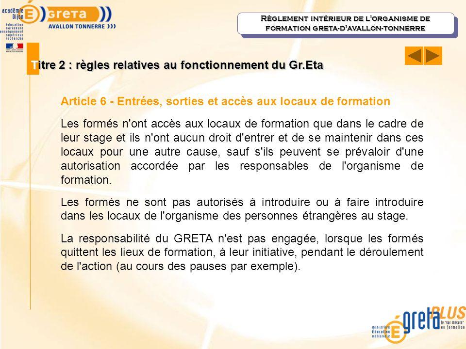 Titre 2 : règles relatives au fonctionnement du Gr.Eta