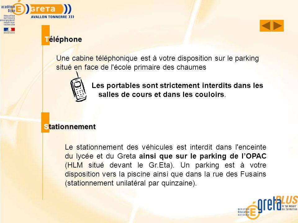 Téléphone Une cabine téléphonique est à votre disposition sur le parking situé en face de l école primaire des chaumes.