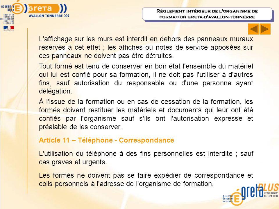 Article 11 – Téléphone - Correspondance