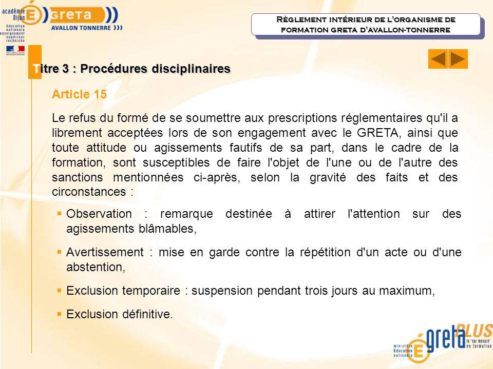 Titre 3 : Procédures disciplinaires