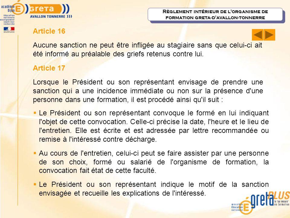 Règlement intérieur de l organisme de formation greta-d avallon-tonnerre