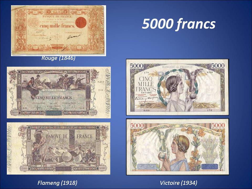 5000 francs Rouge (1846) Flameng (1918) Victoire (1934)