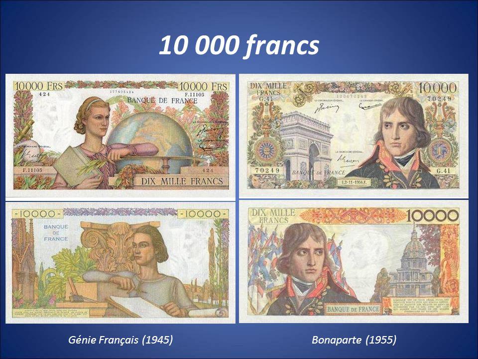 10 000 francs Génie Français (1945) Bonaparte (1955)