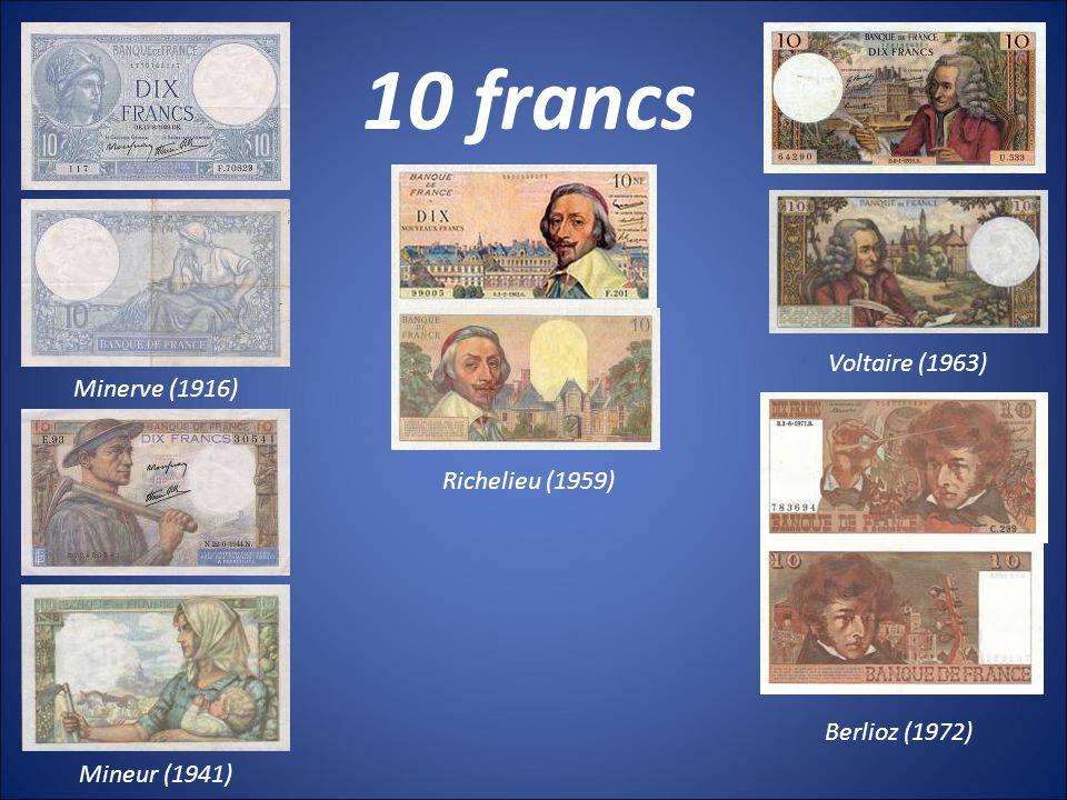 10 francs Voltaire (1963) Minerve (1916) Richelieu (1959)