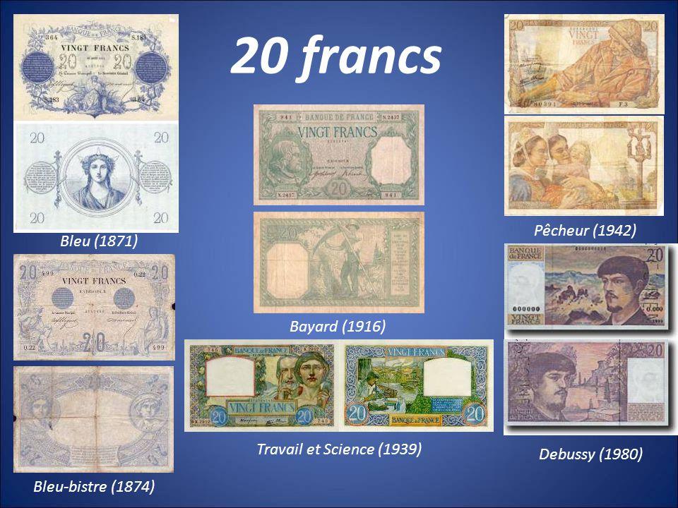 20 francs Pêcheur (1942) Bleu (1871) Bayard (1916)