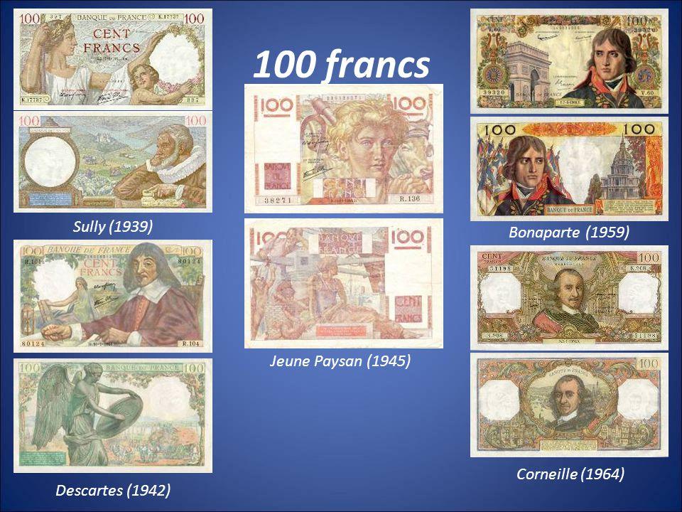 100 francs Sully (1939) Bonaparte (1959) Jeune Paysan (1945)