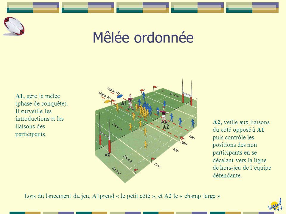 Mêlée ordonnée A1, gère la mêlée (phase de conquête). Il surveille les introductions et les liaisons des participants.