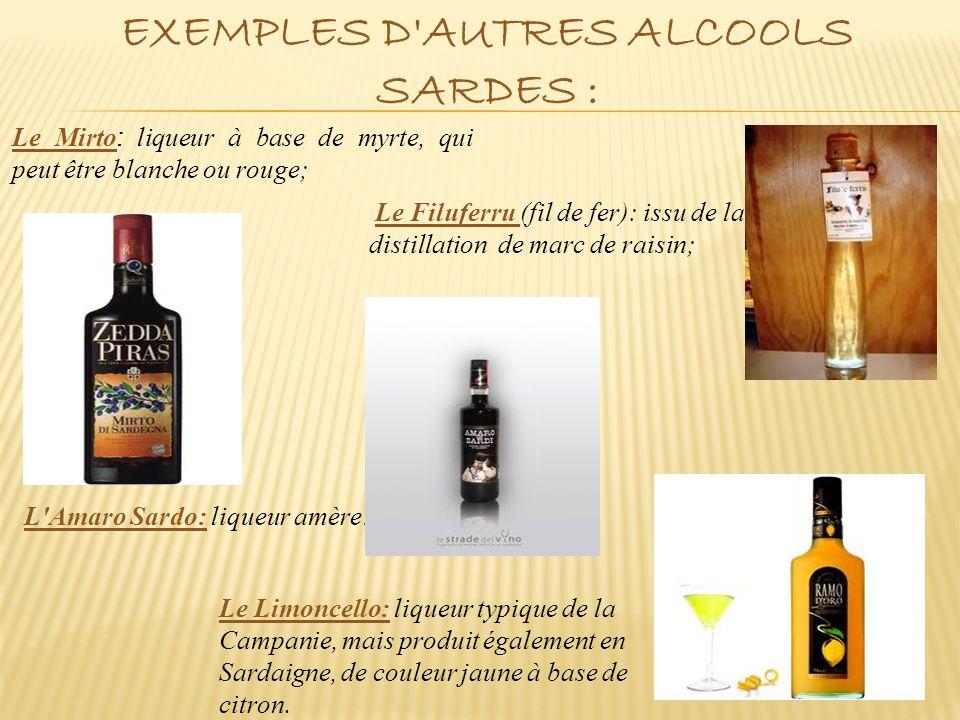 Exemples d autres alcools sardes :