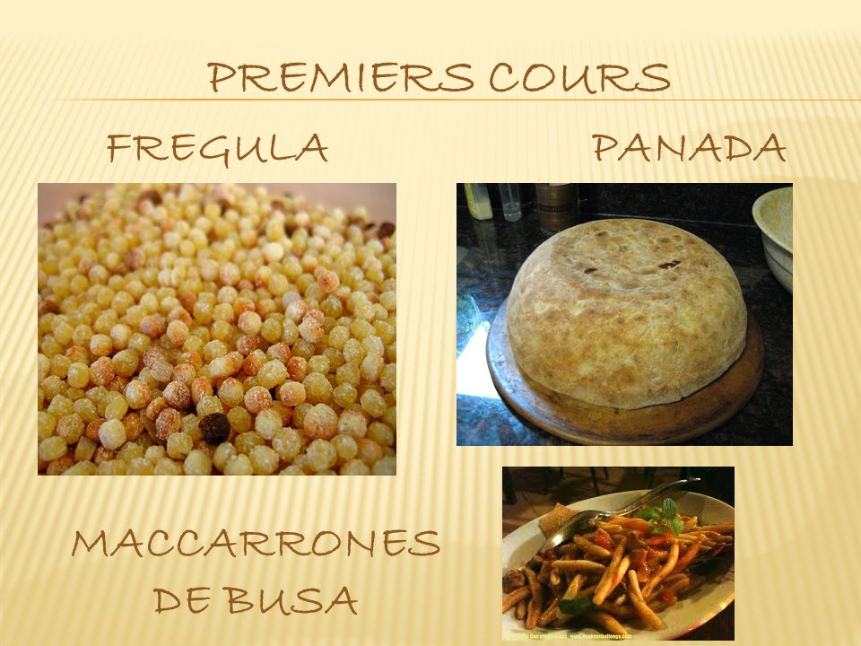 premiers cours FREGULA PANADA MACCARRONES DE BUSA