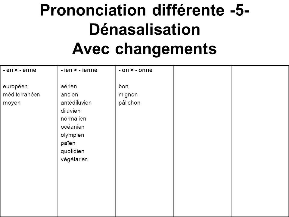 Prononciation différente -5- Dénasalisation Avec changements