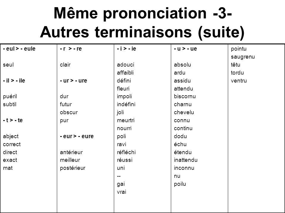 Même prononciation -3- Autres terminaisons (suite)