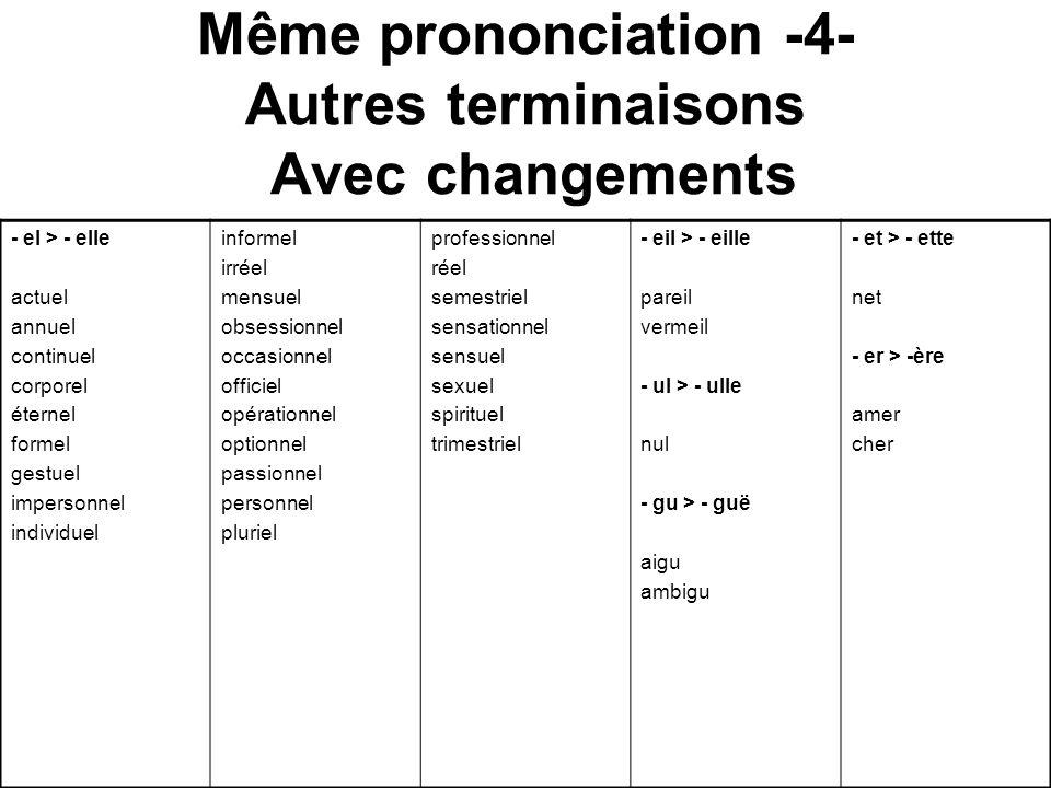 Même prononciation -4- Autres terminaisons Avec changements