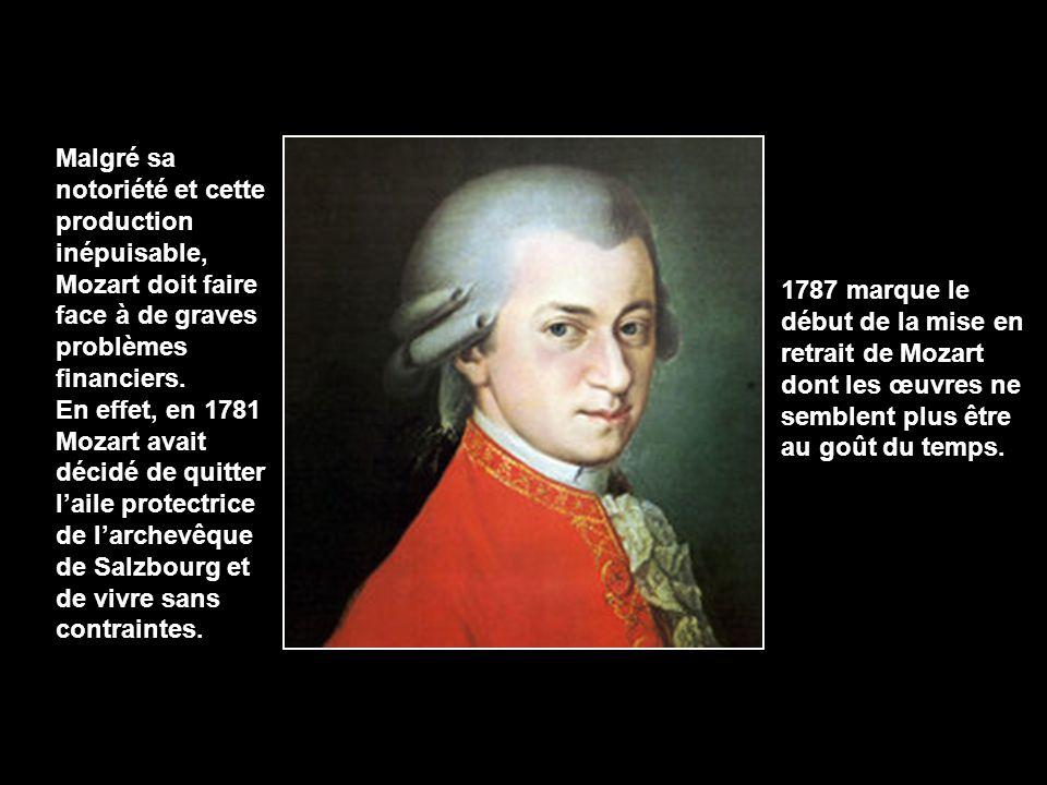 Malgré sa notoriété et cette production inépuisable, Mozart doit faire face à de graves problèmes financiers.