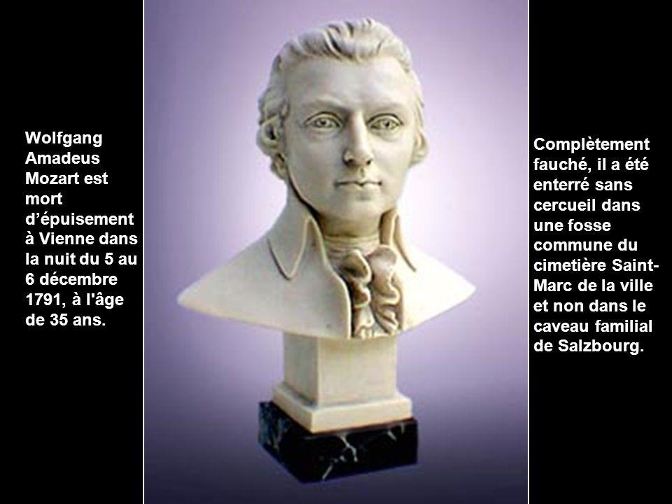 Wolfgang Amadeus Mozart est mort d'épuisement à Vienne dans la nuit du 5 au 6 décembre 1791, à l âge de 35 ans.