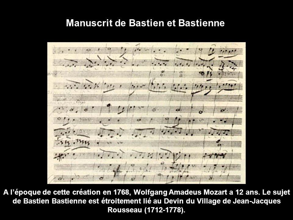 Manuscrit de Bastien et Bastienne