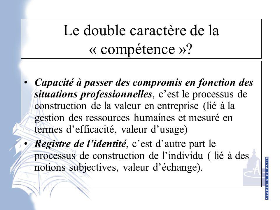 Le double caractère de la « compétence »