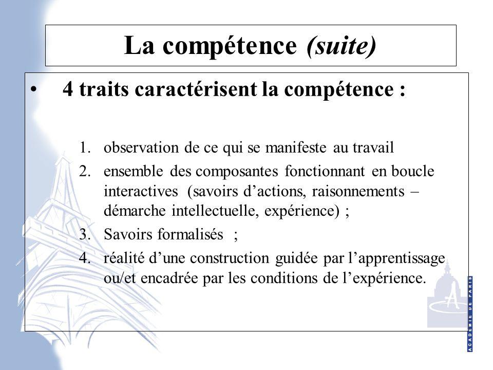 La compétence (suite) 4 traits caractérisent la compétence :
