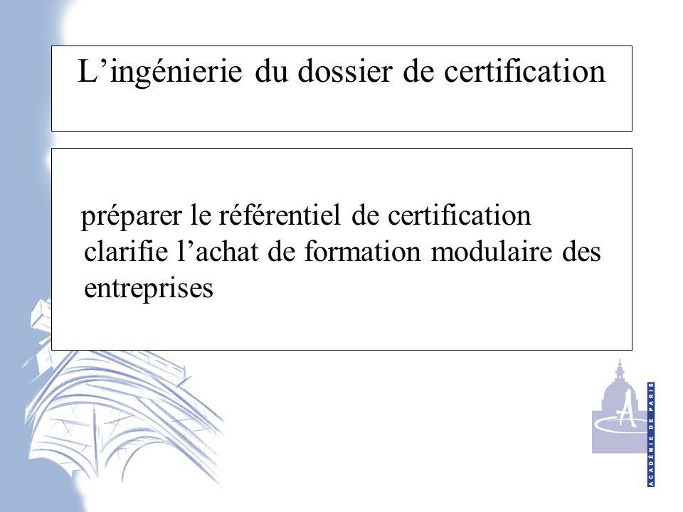 L'ingénierie du dossier de certification