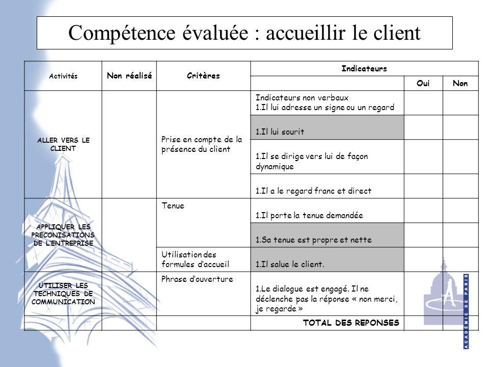 Compétence évaluée : accueillir le client