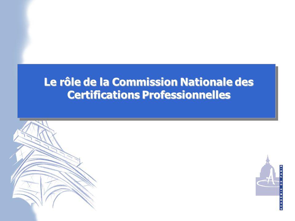 Le rôle de la Commission Nationale des Certifications Professionnelles
